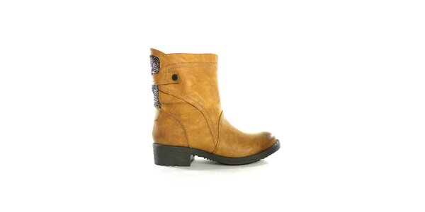 Dámské hnědé nízké kozačky s flitry Shoes in the City