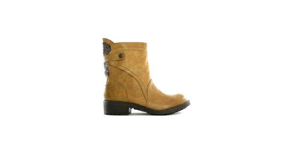 Dámské nízké khaki kozačky s flitry Shoes in the City