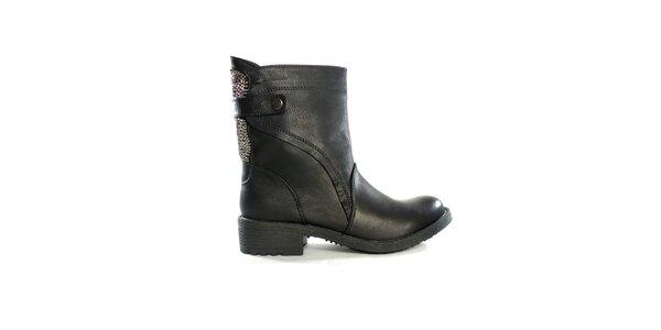 Dámské černé nízké kozačky s flitry Shoes in the City