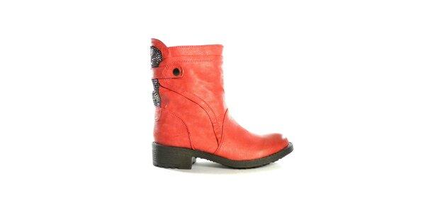Dámské červené nízké kozačky s flitry Shoes in the City