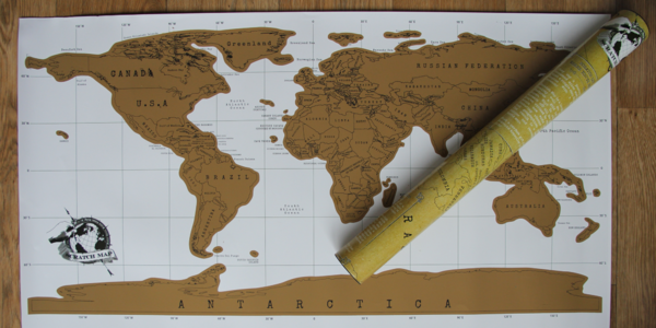 Skvělý dárek pro cestovatele: Stírací mapa světa