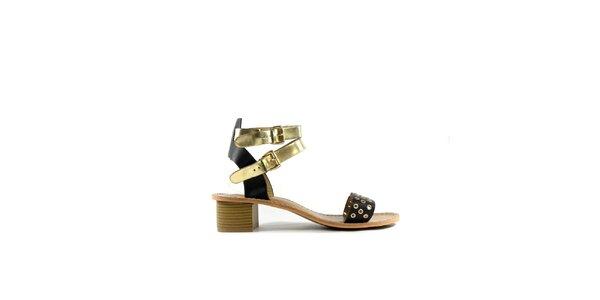 Dámské černo-zlaté kožené sandálky Shoes in the City