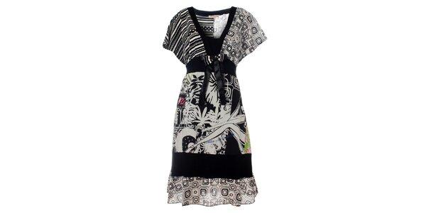 Dámské černo-bílé šaty Savage Culture s potiskem
