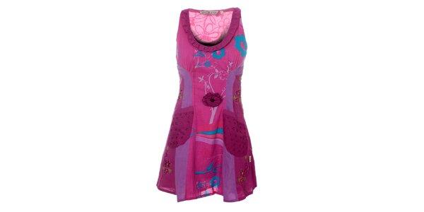 Dámské fialové šaty s volánkovým výstřihem Savage Culture