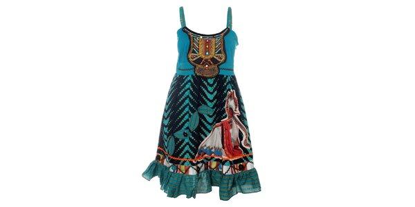 Dámské tyrkysové šaty s indiánským potiskem Savage Culture