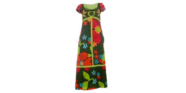 Dámské červeno-zelené květované maxi šaty Savage Culture
