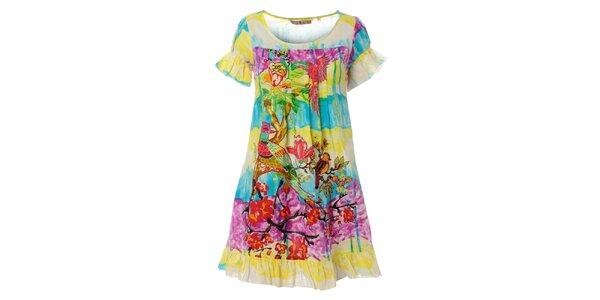 Dámské krátké pestrobarevné šaty Savage Culture s volánky
