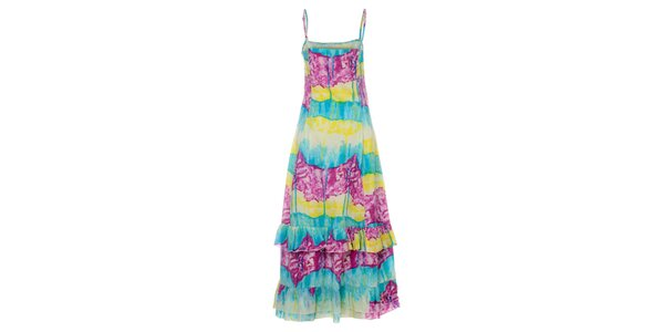 Dámské dlouhé pestrobarevné šaty Savage Culture s volány