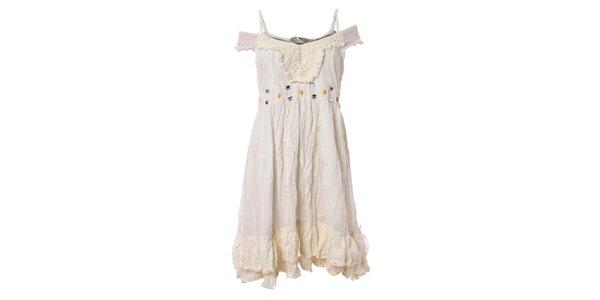 Dámské bílé volánové šaty Savage Culture s krajkou a kamínky