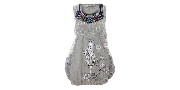 Dámské šedivé šaty Savage Culture s potiskem a barevnými kamínky