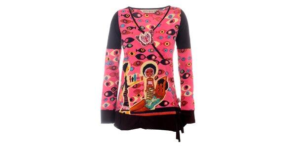 Dámská růžová tunika Savage Culture s africkým motivem