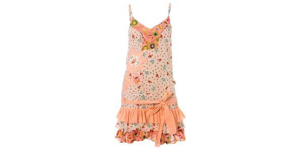 Dámské růžovo-krémová volánové šaty Savage Culture