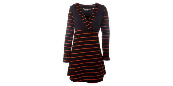 Dámské hnědo-oranžové proužkované šaty Savage Culture