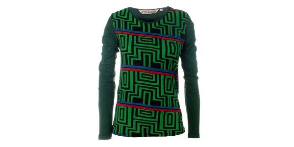Dámské zelené tričko Savage Culture s geometrickým vzorem