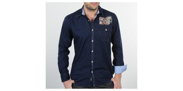 Pánská tmavě modrá košile se světle modrými detaily Napapijri