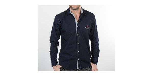 Pánská tmavě modrá košile s šedými detaily Napapijri