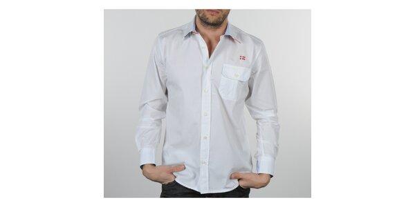 Pánská bílá košile s modrými a červenými detaily Napapijri