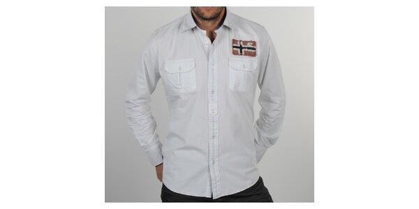 Pánská bílá košile s vlajkou Napapijri