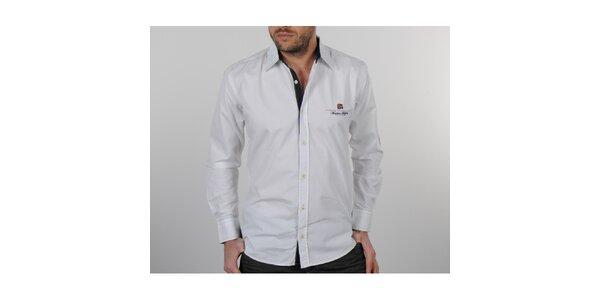 Pánská bílá košile s černými detaily Napapijri