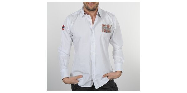 Pánská bílá košile s korálovými detaily Napapijri