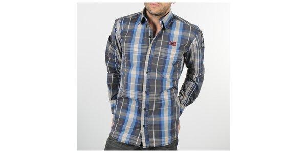 Pánská šedo-modrá kostkovaná košile Napapijri