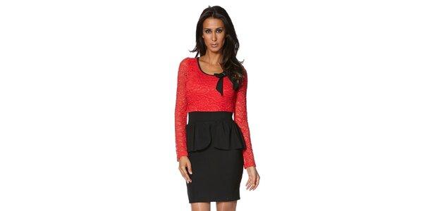 Dámské červeno-černé šaty s krajkovými rukávy S...with Swarovski