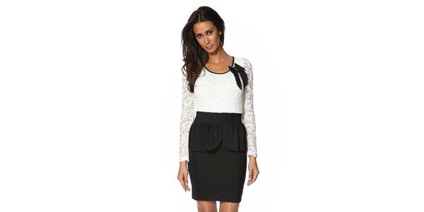 Dámské černo-bílé šaty s krajkovými rukávy S...with Swarovski
