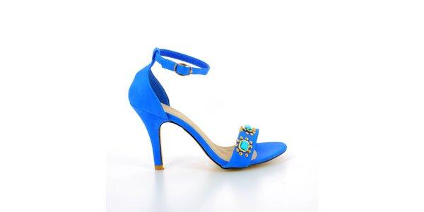 Dámské modré sandálky s kovovými kamínky GirlHood