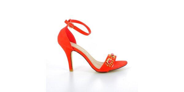 Dámské červené sandálky s kovovými kamínky GirlHood