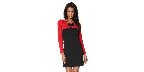 Dámské černo-červené šaty s mašličkou S...with Swarovski