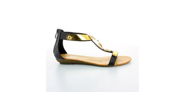 Dámské černo-zlaté gladiátorky s kameny GirlHood
