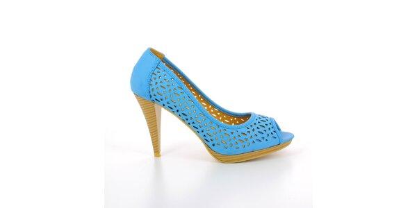 598c5522a6b0 Dámské modré perforované lodičky GirlHood