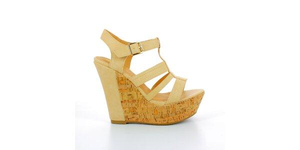 Dámské béžové sandále na korkové platformě GirlHood