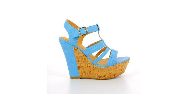 Dámské modré sandále na korkové platformě GirlHood