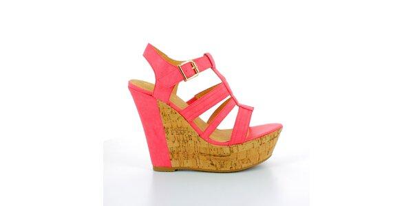 Dámské červené sandále na korkové platformě GirlHood