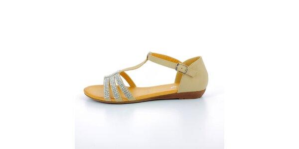 Dámské béžové sandále se štrasovými kamínky GirlHood