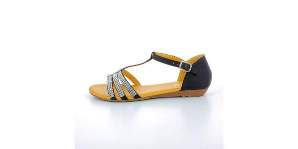 Dámské černé sandále se štrasovými kamínky GirlHood