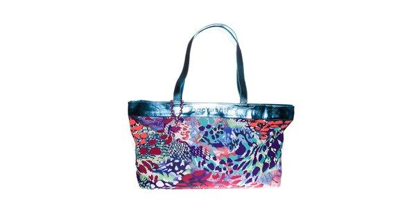 Dámská tyrkysově modrá plážová taška Bacirubati s barevným potiskem