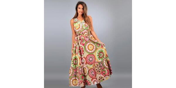 Dámské dlouhé béžové šaty Des Si Belles s barevnými ornamenty