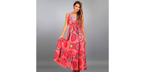 Dámské dlouhé růžové šaty Des Si Belles s barevnými ornamenty
