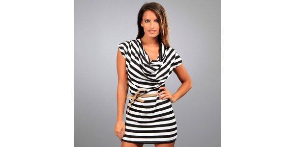 Dámské černo-bílé pruhované šaty Des Si Belles