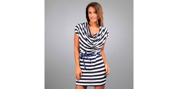 Dámské modro-bílé pruhované šaty Des Si Belles