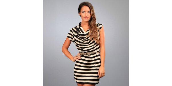 Dámské černo-béžové pruhované šaty Des Si Belles