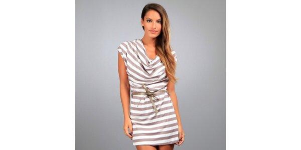 Dámské hnědo-bílé pruhované šaty Des Si Belles