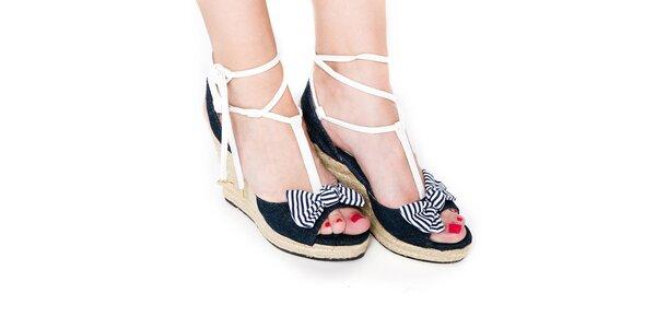 Dámské denimové páskové boty na jutovém klínku