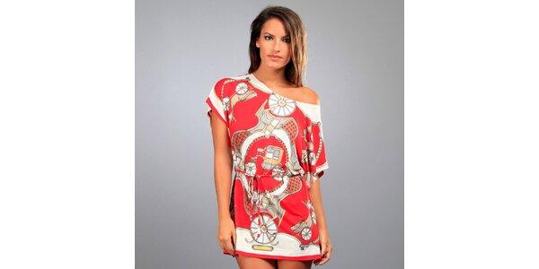 Dámská červená tunika Des Si Belles s kočáry