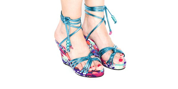 Dámské tyrkysově modré metalizované páskové boty