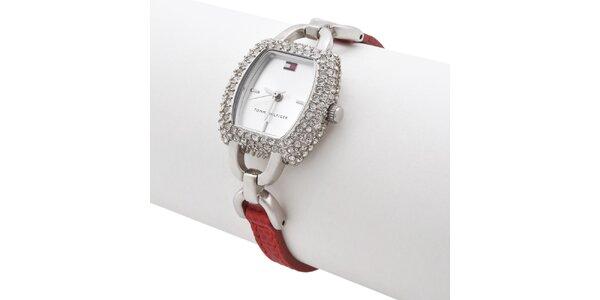 Dámské náramkové hodinky Tommy Hilfiger s červeným řemínkem