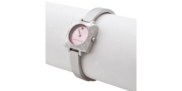Dámské ocelové náramkové hodinky s růžovým ciferníkem Tommy Hilfiger
