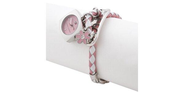 Dámské růžovo-bílé hodinky s náramkem a přívěsky Tommy Hilfiger